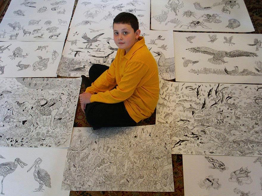 11-Year-Old Child Prodigy Creates Stunningly Detailed Drawings Bursting With Life (2)
