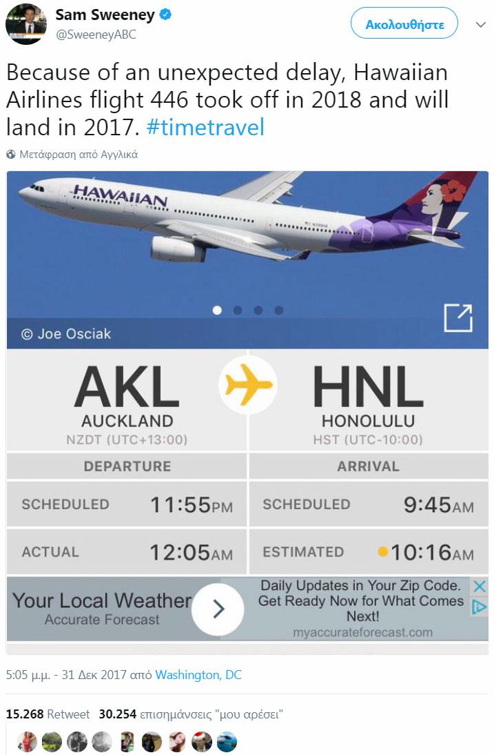 Aεροπλάνο απογειώθηκε το 2018 και προσγειώθηκε το 2017
